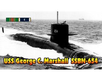 "USS George C. Marshall SSBN 654 Magnet. Business card size 3 1/2"" x 2"" fridge magnet.  FREE Shipping! Unique Original Designs."