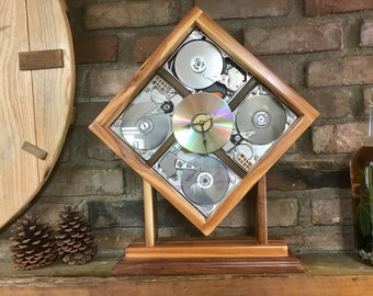 Computer Quad-Hard Disk Clock #1129