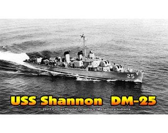 """USS Shannon DM 25 Magnet. Business card size 3 1/2"""" x 2"""" fridge magnet.  FREE Shipping! Unique Original Designs."""