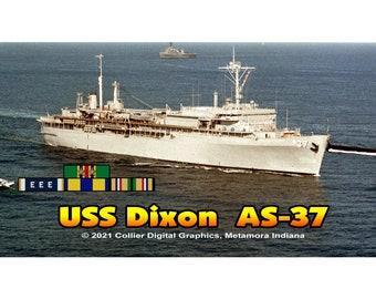 """USS Dixon AS 37 Magnet. Business card size 3 1/2"""" x 2"""" fridge magnet.  FREE Shipping! Unique Original Designs."""