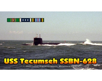 "USS Tecumseh SSBN 628 Magnet. Business card size 3 1/2"" x 2"" fridge magnet.  FREE Shipping! Unique Original Designs."