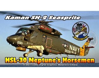 """HSL 30 Helicopter Antisubmarine Squadron Light Neptune's Horseman fridge Magnet. Business card size 3 1/2"""" x 2"""" fridge magnet.  FREE Shippin"""