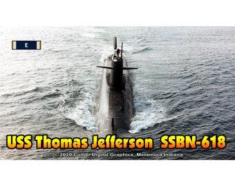 "USS Thomas Jefferson SSBN 618 Magnet. Business card size 3 1/2"" x 2"" fridge magnet.  FREE Shipping! Unique Original Designs."