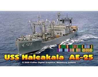 "USS Haleakala AE 25 Magnet. Business card size 3 1/2"" x 2"" fridge magnet.  FREE Shipping! Unique Original Designs."