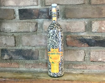 1 Liter Baby Blue Hull-less Indiana Popcorn in recycled 360 Mandarin Orange bottle. Low cal; Fathers Day gift, No  popper required