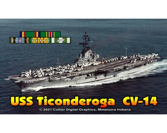 "USS Ticonderoga CV 14 Magnet. Business card size 3 1/2"" x 2"" fridge magnet.  FREE Shipping! Unique Original Designs."