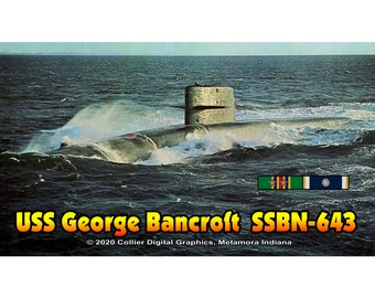 "USS George Bancroft SSBN 643 Magnet. Business card size 3 1/2"" x 2"" fridge magnet.  FREE Shipping! Unique Original Designs."