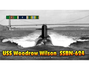 "USS Woodrow Wilson SSBN 624 Magnet. Business card size 3 1/2"" x 2"" fridge magnet.  FREE Shipping! Unique Original Designs."
