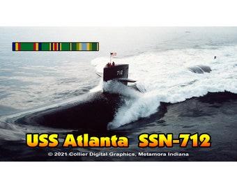 "USS Atlanta SSN 712 Magnet. Business card size 3 1/2"" x 2"" fridge magnet.  FREE Shipping! Unique Original Designs."