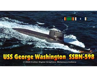 "USS George Washington SSBN 598 Magnet. Business card size 3 1/2"" x 2"" fridge magnet.  FREE Shipping! Unique Original Designs."