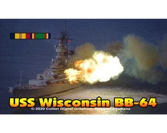 "USS Wisconsin BB 64 Magnet. Business card size 3 1/2"" x 2"" fridge magnet.  FREE Shipping! Unique Original Designs."