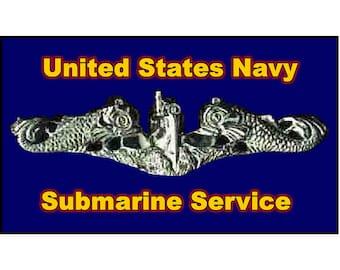 """Silver Dolphins US Submarine Service Magnet. Business card size 3 1/2"""" x 2"""" fridge magnet. Unique Original Designs."""