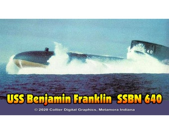 "USS Benjamin Franklin SSBN 640 (no ribbons) Magnet. Business card size 3 1/2"" x 2"" fridge magnet.  FREE Shipping! Unique Original Designs."