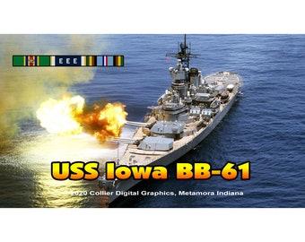 "USS Iowa BB 61 Magnet. Business card size 3 1/2"" x 2"" fridge magnet.  FREE Shipping! Unique Original Designs."