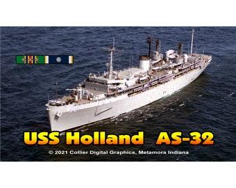 "USS Holland AS 32 Magnet. Business card size 3 1/2"" x 2"" fridge magnet.  FREE Shipping! Unique Original Designs."