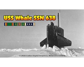 "USS Whale SSN 638 Magnet. Business card size 3 1/2"" x 2"" fridge magnet.  FREE Shipping! Unique Original Designs."