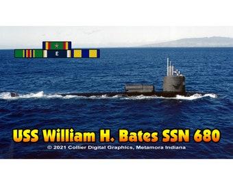 "USS William H. Bates SSN 680 Magnet. Business card size 3 1/2"" x 2"" fridge magnet.  FREE Shipping! Unique Original Designs."
