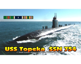 """USS Topeka SSN 754 Magnet. Business card size 3 1/2"""" x 2"""" fridge magnet.  FREE Shipping! Unique Original Designs."""