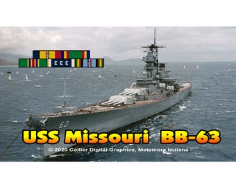 "USS Missouri BB 63 Magnet. Business card size 3 1/2"" x 2"" fridge magnet.  FREE Shipping! Unique Original Designs."