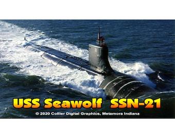 "USS Seawolf SSN 21  Magnet. Business card size 3 1/2"" x 2"" fridge magnet.  FREE Shipping! Unique Original Designs."