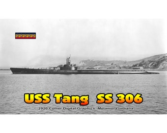 """USS Tang SS 306 Magnet. Business card size 3 1/2"""" x 2"""" fridge magnet.  FREE Shipping! Unique Original Designs."""