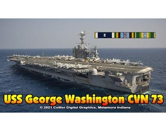 "USS George Washington CVN 73 Magnet. Business card size 3 1/2"" x 2"" fridge magnet.  FREE Shipping! Unique Original Designs."