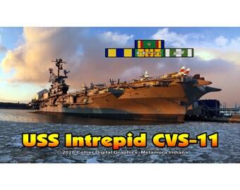 "USS Intrepid CVS 11 Magnet. Business card size 3 1/2"" x 2"" fridge magnet.  FREE Shipping! Unique Original Designs."