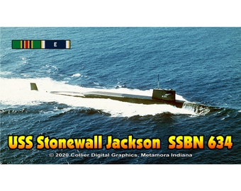 "USS Stonewall Jackson SSBN 634 Magnet. Business card size 3 1/2"" x 2"" fridge magnet.  FREE Shipping! Unique Original Designs."