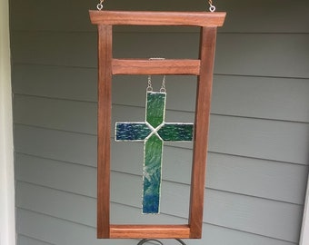Cross stained glass in a Walnut Wood Transom frame / hanging cross sun catcher