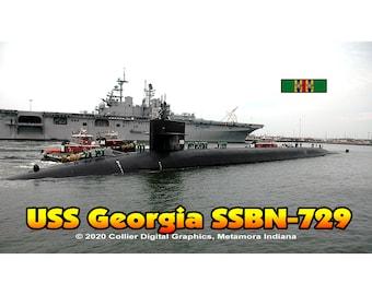 "USS Georgia SSBN 729 Magnet. Business card size 3 1/2"" x 2"" fridge magnet.  FREE Shipping! Unique Original Designs."