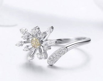 Fashion creative Silver Open Ring Style Hand Drawn Dandelion Adjustable Size UK