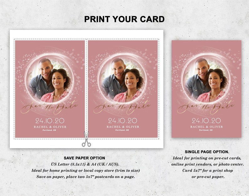 Personalized editable cards save your date Save the date template Instant download. Wedding announcement card with a photo
