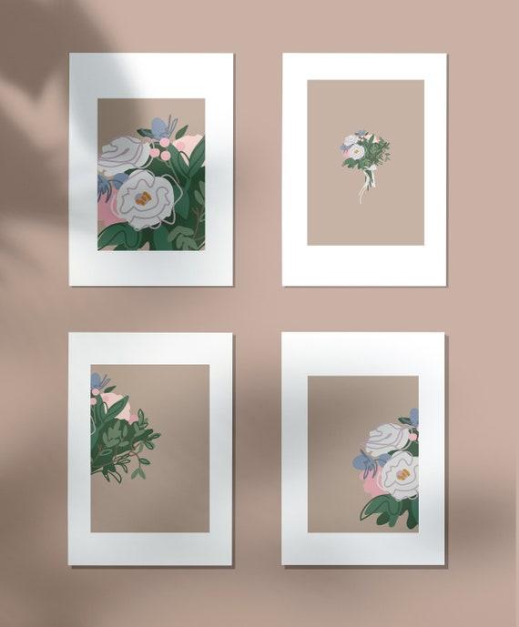 minimal illustration First anniversary. wedding flowers in earth tone Boho wall art Custom bouquet art