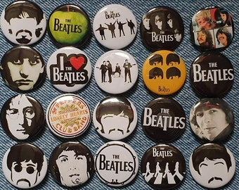 THE BEATLES BEATLES APPLE LOGO ON BLACK  25mm BUTTON BADGE