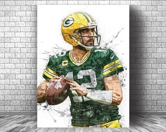 Aaron Rodgers Davante Adams Poster Green Bay Packers Football Painting Hand Made