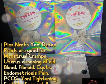 Yoni Detox Pearls, Pink Nekta Detox Pearls, Yoni Pops, Herbal Womb Yoni Detox Pearls