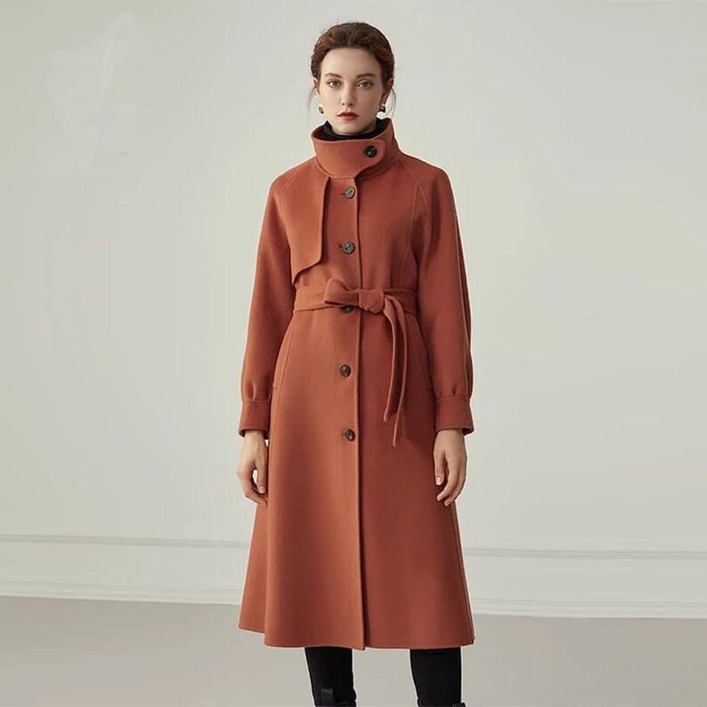 Red Wool Coat Vintage coat 100/% pure wool Casual coat, Winter Overcoat Handmade coat Minimal coat Women Wool coat Long wool coat