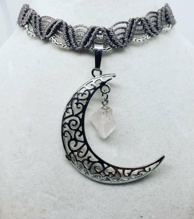 Macrame Choker Gray Micro macrame necklace Moon Necklace Crystal Jewelry Cresent Moon Choker Quartz Crystal Choker Celestial Jewelry