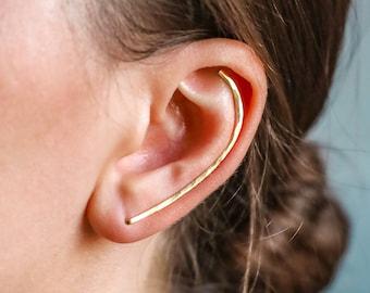 Dainty Long Ear Climber, Ear Crawler, Gold Ear Cuff, Bar Ear Climber Silver Sweep Ear Pins Rose Gold Hammered Earrings 50mm Long Ear Climber