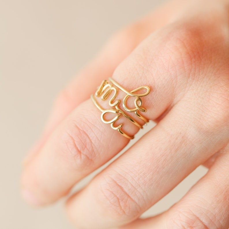 Gold Letter Ring Initial Letter Ring LOVE script Ring Gold Initial Ring Wire Ring Gold Write Ring Mothers Day Gift Gold Love Ring