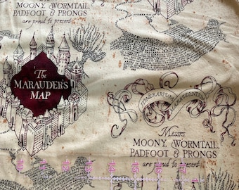 Apron made with marauder/'s map fabric
