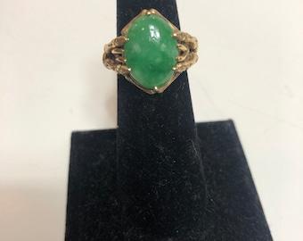 Saddle Jadeite Ring US9.25 Natural Burmese jadeite translucent Green Untreated Authentic Grade A