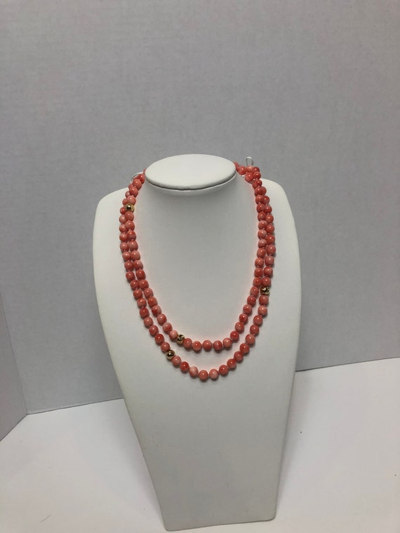 Midway coral and 14k bead necklace