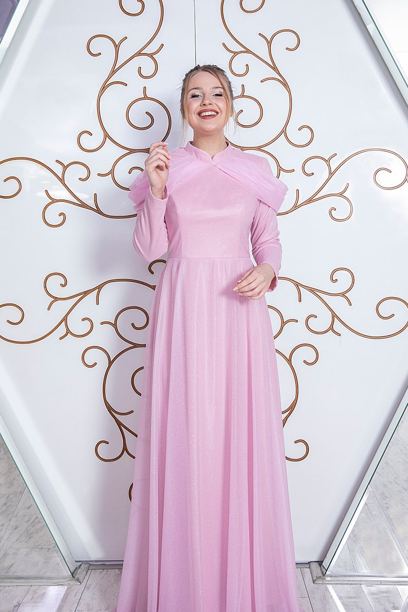 New Pink Glitter Chiffon Maxi Elegant Dress Long Sleeve image 0