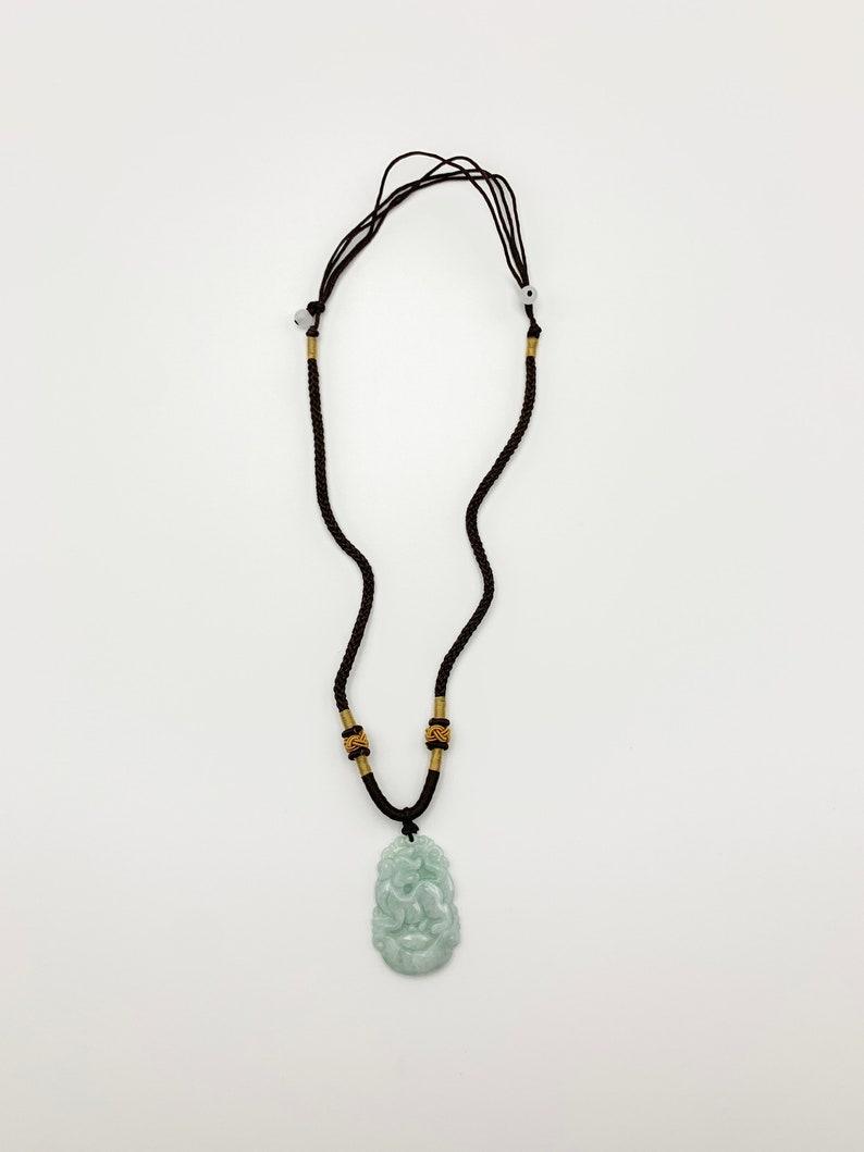 Jadeite Jade Dog Chinese Zodiac Carved Pendant Necklace
