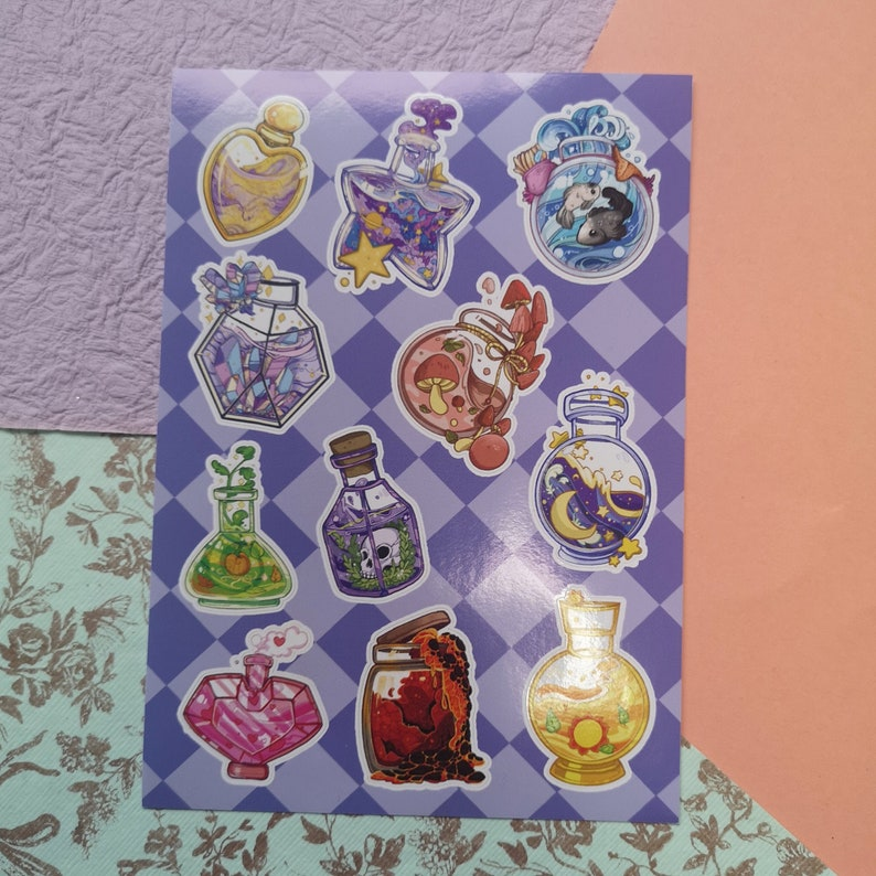 Alchemy Vial sticker sheet A6 image 0