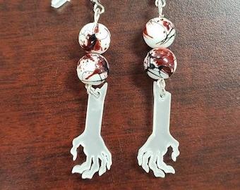 Red Skeleton Dangle Earrings Dead Freddie Blood Fashion Undead Ghoulish Unusual Jason Skulls Walking Dead Red Zombie Halloween