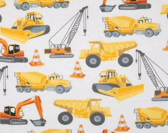 Construction Truck Dozer Toss Cotton Fabric Wilmington Detour Ahead By The Yard