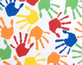 Colorful Hand Prints on White 100% Cotton Fabric FQ Fat Quarter, 1/4 yard, 1/2 yard or by the Yard (Choose a size)
