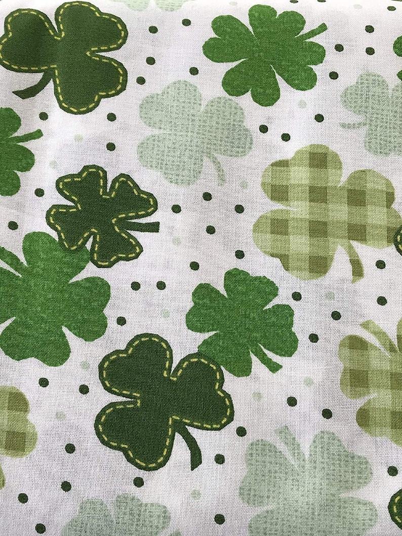 St. Patrick's Day Gingham Clover On White Shamrock Polka image 0